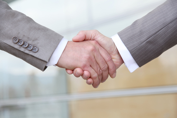 Closeup on business handshake